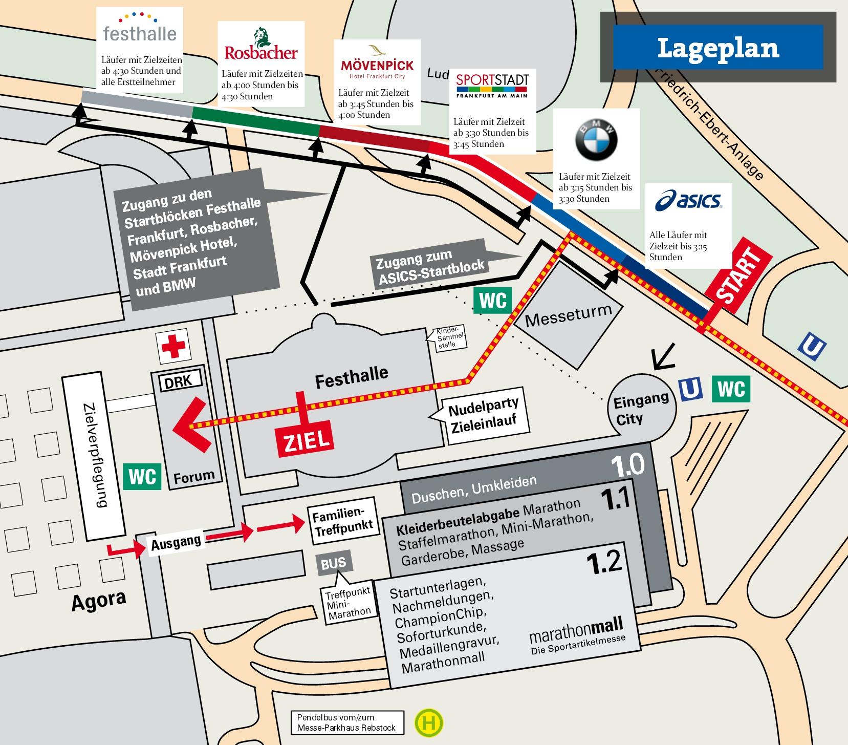 Lageplan Start Bereiche BMW Frankfurt FFM Marathon Farben Blöcke Infos Ausschreibung