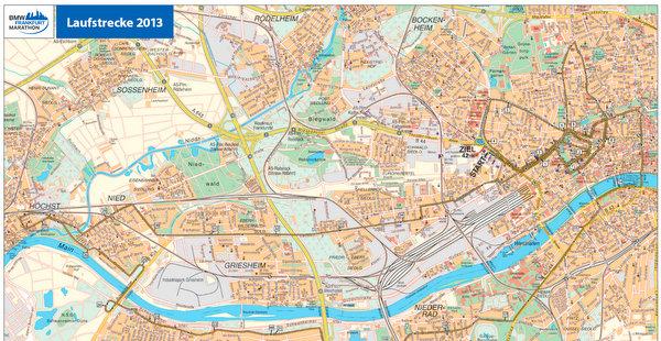 Strecke BMW Frankfurt Marathon FFM Sperrungen Streckenverlauf Sperren Karte Mappe
